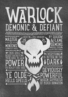 World of Warcraft / Roleplaying Medieval / Fantasy Inspired Type Print - WARLOCK Edition Super cool World of Warcraft photos