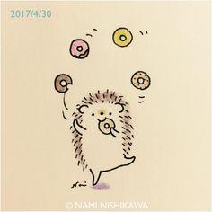 1162 #ドーナツ #doughnuts #illustration #hedgehog #イラスト #ハリネズミ #なみはりねずみ #illustagram