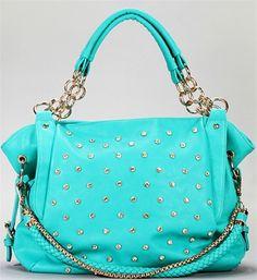 Turquoise Rhinestone Bag