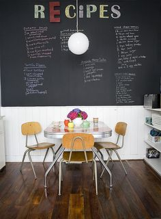I love the diner/coffee shop feel of this.  It makes me want a little breakfast eating area that looks like this.