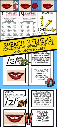 These helpful SPEECH MOUTH POSTERS, SYLLABLE WHEELS & BEAUTIFUL WORKSHEETS are great visual cues for speech therapy. These will help students understand tongue position and voicing. Worksheets and word lists make this a complete beginning of the school must have! Monae's Books, Posters, Speech Sound Materials & Activity Packets are the perfect tools for developing and improving communication skills. Black & white easy prep included to! Great for special education, preschool, Kindergarten…