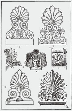 Architectural Ornament - Acrotirion examples - It is thought that the palmette originated in ancient Greece years B., and has influenced Roman art. Acrotiri were used to decorate door portals as seen in Pompeiian wall paintings. Architecture Antique, Ancient Greek Architecture, Roman Architecture, Architecture Drawings, Architecture Design, Ancient Greek Art, Ancient Greece, Ancient Egypt, Egyptian Art