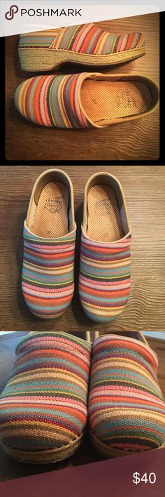 Dansko Began Rainbow Jute Clogs Size  37 / 7 Literally no signs of wear. Jute/burlap type fabric. All vegan, no leather. Dansko Shoes Mules & Clogs