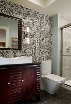 Modern Bathrooms Renovations With Round Wall Stone Of Made And White Wall And Chic