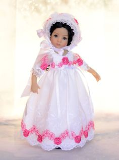 """SOLD """"Roses in the Snow"""" Regency Dress, Outfit, Clothes for 13"""" Effner Little Darling #DiannaEffner"""