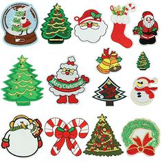 Satkago+Iron+Patches,+15Pcs+Merry+Christmas+Pattern+Embroidery+Patches+Iron+On+or+Sew+On+Patches+Applique+for+Backpacks+T-shirt+Jeans+Skirt+Vests+Scarf+Hat+Clothes