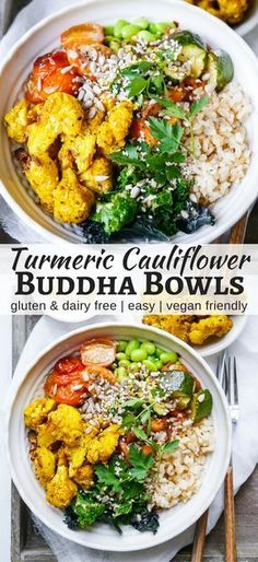 Roasted Turmeric Cauliflower Buddha Bowls make such a colourful, healthy meal! This vegan and gluten free recipe is easy to make and flexible. By Nourish Everyday #veganRecipe