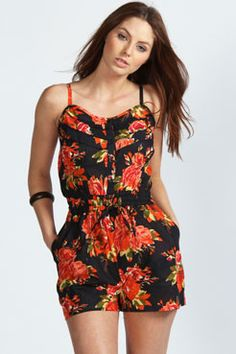 Emma Ruffle Button Front Strappy Floral Playsuit - Boohoo