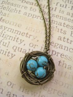 @Breanna Bates i bet you could easily make one like this, its pretty cool: Bird Nest Pendant Necklace in Turquoise