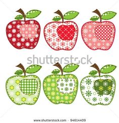 Illustration of set of patchwork apples over white vector art, clipart and stock vectors.Patchwork Clip Art and Stock Illustrations. Patchwork EPS illustrations and vector clip art graphics available to search from thousands of royalty free stock art Applique Embroidery Designs, Wool Applique, Applique Patterns, Machine Embroidery, Art Clipart, Vector Art, Vector Stock, Motifs D'appliques, Sewing Crafts