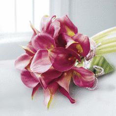 Deep Pink Calla Lily & Pearl Bridal Bouquet