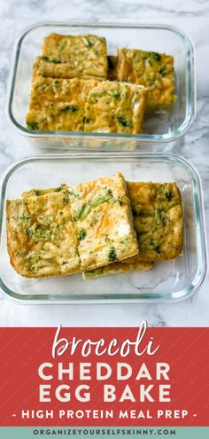 This Broccoli Egg Bake is a high protein, low carb breakfast recipe perfect for meal prep or serving a crowd. Making an egg bake is one of my favorite ways to meal prep breakfast for the week. It's easy to throw together using whatever ingredients you have on hand, and it reheats perfectly for a quick, tasty breakfast. Organize Yourself Skinny Healthy Meal Prep Recipes | Healthy Breakfast Recipes Healthy Freezer Meals, Healthy Meals For Two, Healthy Meal Prep, Healthy Breakfast On The Go, Healthy Breakfast Recipes, Easy Healthy Recipes, High Protein Meal Prep, High Protein Vegetarian Recipes, Meal Prep Bowls