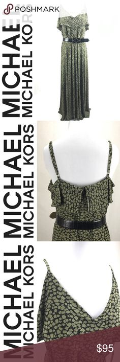 Michael Michael Kors Safari Green Maxi Dress XL Michael Michael Kors Safari Green Maxi Dress  This dress is a beautiful olive green color.  Measurements:  XL Top to bottom: 52 1/2in (not including strap) *Straps are adjustable Bottom hem: 48 in Bust: 20 in  95% Polyester 5% Spandex  Where it's Made:Vietnam  This item is NWT🌟   Please see all photos and use zoom feature, as they are used as part of item description. All measurements are Approx. Check out the rest of my closet and feel free…