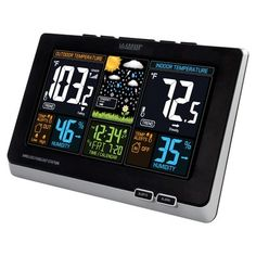 La Crosse Technology Wireless Color Weather Forecast Station in Black - Closeouts Time And Weather, Weather Data, Temperature Weather, Temperature And Humidity, Lightning Detector, Outdoor Wall Clocks, Weather Center, Techno Gadgets, Rain Gauge