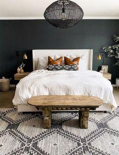 ORC Week One: Dark & Moody Master Bedroom Inspiration - Miranda Schroeder Home Decor Bedroom, Modern Bedroom, Dark Master Bedroom, 70s Bedroom, Minimalist Bedroom, Dark Furniture Bedroom, Cozy Master Bedroom Ideas, Master Suite, Bedroom Ideas For Couples