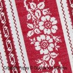 """Alsace pattern Gracewood Stitches's Vintage Textile Collection.design is a cross stitch pattern reproducing the effect of a woven fabric stitched in two beautiful tones of red floss.Designer Kathy Bungard of Gracewood stitches:""""Alsace is the 4th design in my Vintage Textiles Collection. Inspired by my love for ticking fabric, named for the region of France well known for beautiful ticking, including woven mattress tickings in deep saturated tones, in colors not seen elsewhere in France""""."""