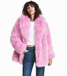ffa1432c44d21 Pink Faux Fur Coat by HM — zory mory Pink Faux Fur Coat
