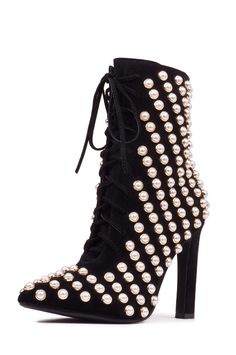 7410cf9099f7 Jeffrey Campbell Shoes ELPHA-PRL Shop All in Black Gold Pearl Lace Up Heels