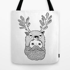 Portrait of Northern Deer Man Tote Bag by Michael C. Hsiung - $22.00