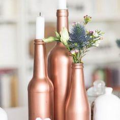 Des bouteilles en verre cuivrées  - Marie Claire Idées