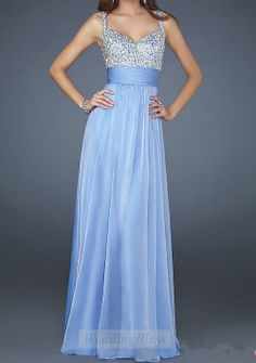 Light Sky Blue Chiffon Long Prom Dress A-line Dresses with Straps