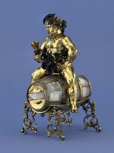 "Silver-gilt table-ornament in the shape of Bacchus siting on a wine barrel by Meinrad Bauch the Elder in Nuremberg, 1590-1602, British Museum. Acquired by Baron Anselm Rothschild before 1838. Similar, larger, silver wine vessel of 150 litres on wheels was described in the Kazanowski Palace in Warsaw, in Adam Jarzębski's ""Short Description of Warsaw"" from 1643. Photo: © Trustees of the British Museum. #mannerism #artinpl #winevessel Bacchus, Baron, Warsaw, British Museum, Palace, Larger, Ornament, Wheels, Shapes"