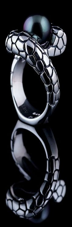 Toi et Moi ♥✤ Tahitian Pearl Ring with Snake