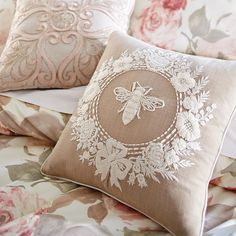 It never hurts to glam up your bedroom a little—even if it involves bees. A few embroidered #pillows and a romantic comforter from #Pier1 should do the trick.  Shop this elegant look via our Like2b.uy/Pier1 link in our profile.