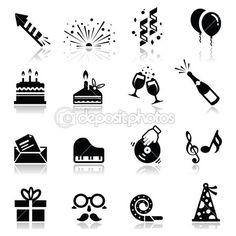 Conjunto de iconos de cumpleaños y celebración — Vector de stock #22896392