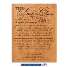 The Broken Chain Prayer Wall plaque Personalized Broken chain Poem,Poem The Broken chain, Custom Funeral Gift, Gift for grandparents by Inlovingmemorygifts on Etsy Funeral Gifts, Prayer Wall, Anniversary Gifts For Parents, Grandparent Gifts, Broken Chain, Memorial Gifts, Wall Plaques, Grandparents, Cnc