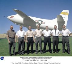 The X1e test pilots, including future astronaut Neil Armstrong.