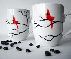 Christmas Cardinal Mugs Hand Painted by MaryElizabethArts.com $40.00/Set of 2