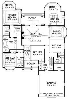 Floor Plans AFLFPW05093 - 1 Story Craftsman Home with 4 Bedrooms, 3 Bathrooms and 2,290 total Square Feet