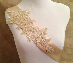 Champagne lace bridal sash, beige lace sash, wedding sash, satin and lace sash, light gold bridal sash on Etsy, $36.00