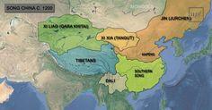 Mapa de China, durante la Dinastía Song 宋朝, 1200 d.C.