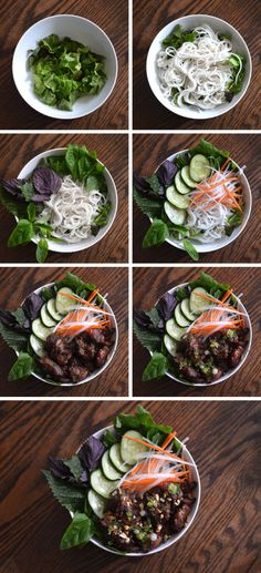 How to assemble a bowl of Vietnamese grilled pork with noodles (bun thit nuong) | HungryHuy.com