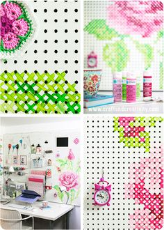 How-To: Painted Cross-Stitch Pegboard for Your Craft Room