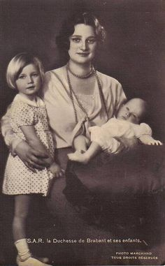 Queen Astrid with two of her children, Josephine Charlotte and Baudouin