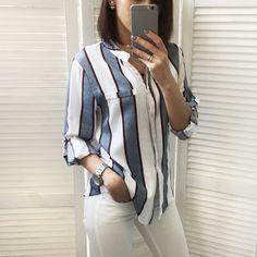 Description: Gender: Women Sleeve Length(cm): Full Collar: O-Neck Style: Casual Pattern Type: Striped Brand Name: Dioufond Fabric Type: Broadcloth Material: Cot