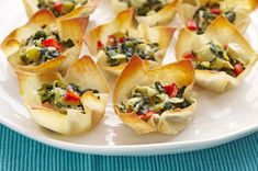 warm spinach and artichoke cups