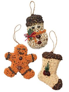 Birdseed Ornaments, Set of 3 adorn outdoor tree gingerbread man/snowman/stocking made from seed& packaged in gift box! Not decorating a tree for what ever reason...don't forget the birds!  Show your spirit of giving this holiday, and you don't have to pack the decorations away later!