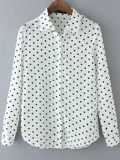 blusa solapa topos-(Sheinside)