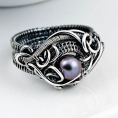 Size9 - Freshwater Peacock Pearl and Fine Silver Ring - Ocean's Breath. $130.00, via Etsy.
