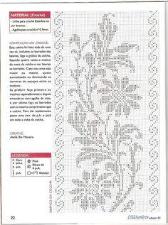 Photo from album Bia Moreira Crochet Arte N 02 on Free Crochet Doily Patterns, Crochet Yoke, Filet Crochet Charts, Irish Crochet, Crochet Doilies, Crochet Stitches, Cross Stitch Patterns, Fillet Crochet, Graph Design