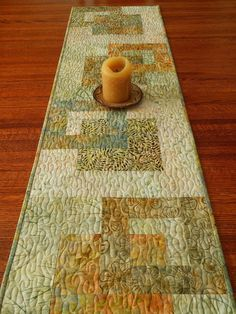 Batik Table Runner Green Gold and Blue Quilted Table by susiquilts