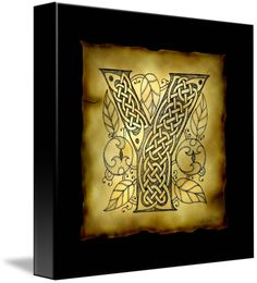 """Celtic+Letter+Y""+by+Kristen+Fox,+New+York+//+An+original,+hand-drawn+letter+Y+from+the+full+alphabet+done+in+Celticstyle,+with+intricate+knotwork,+spirals,+and+leaves,+on+a+faux+parchment+background+on+a+black+field.+A+wonderful+monogram+print+for+first+name+or+surname+initials.+//+Imagekind.com+--+Buy+stunning+fine+art+prints,+framed+prints+and+canvas+prints+directly+from+independent+working+artists+and+photographers."