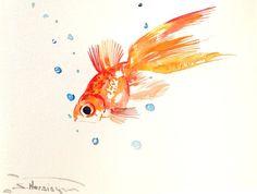 Goldfish Painting, aquarium art, Koi Fish, 12 x 9 in, asian art, Zen Art