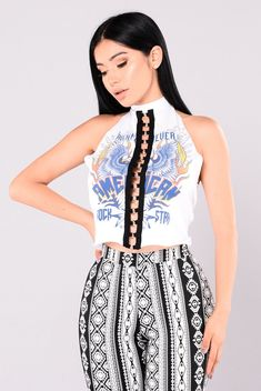 Party On Crop Top - White