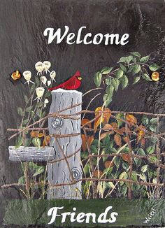 Painted Slate Cardinal on Post with by WhatsInGrampasShack on Etsy,