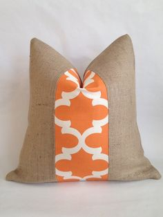 Moroccan Quatrefoil Orange and Cream Fabric and by BouteilleChic, $28.00